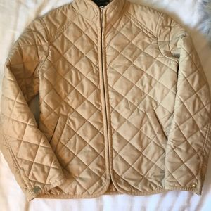Ralph Lauren corduroy trim tan quilted jacket